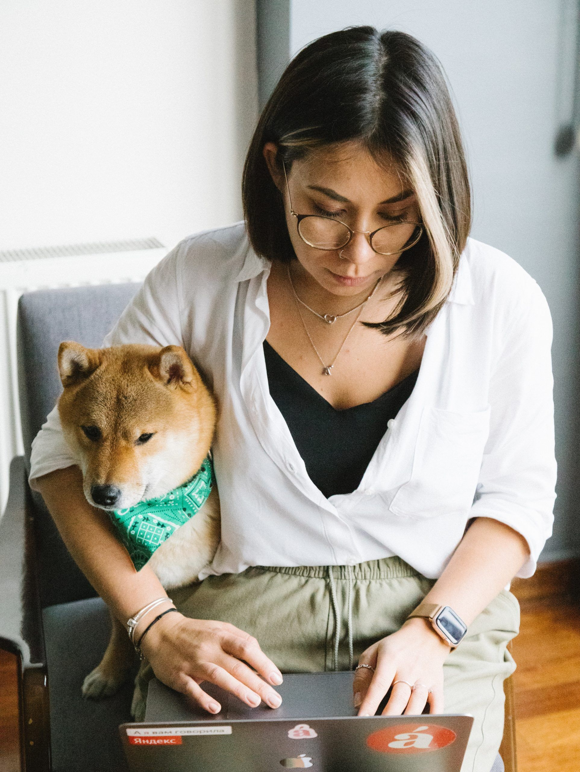 Woman on laptop with shiba